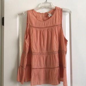Loft peach blouse embroidered ruffle look